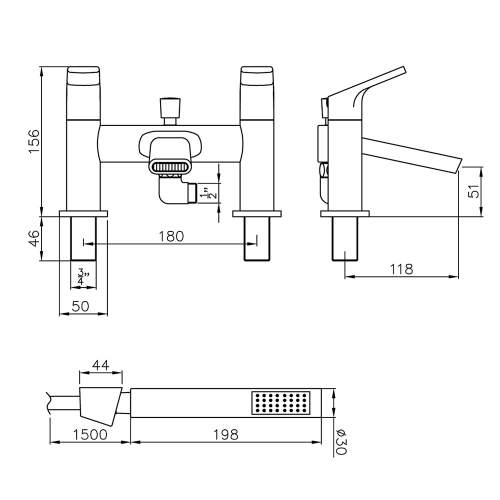 Abode SQUIRE AB2652 Deck Mounted Shower Mixer Tap Dimensions