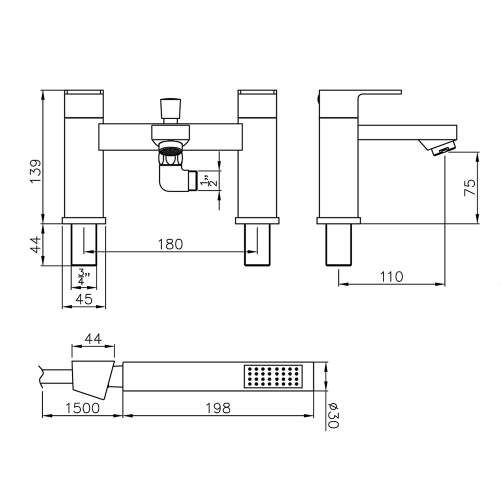 Abode FLUX AB2673 Deck Mounted Shower Mixer Tap Dimensions