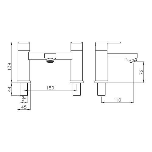Abode FLUX AB2672 Deck Mounted Bath Filler