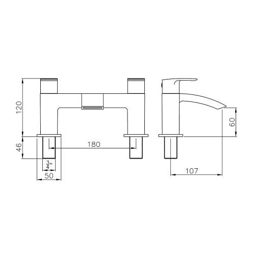 Abode LOOP AB2662 Deck Mounted Bath Filler