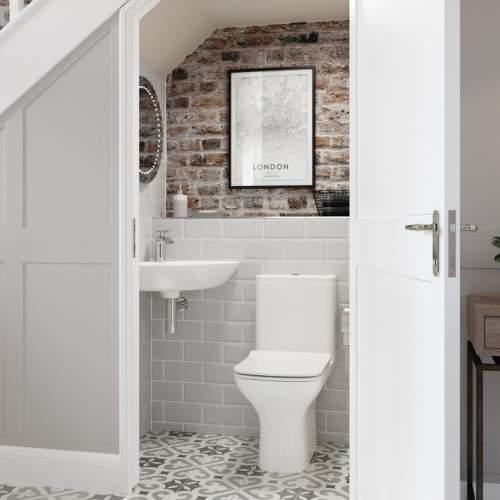 Aquabro Cedarwood DIPBP1144 Corner Cloakroom Basin with Bottle Trap