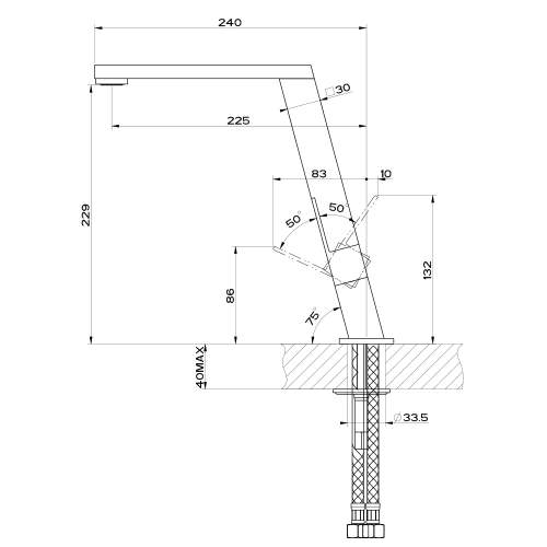 Gessi INCLINE 17047 Designer Single Lever Kitchen Tap