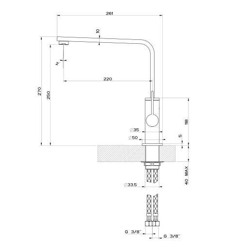 Gessi X-SENCE 17015 Monobloc Kitchen Mixer Tap