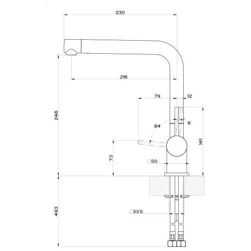 Gessi OXYGEN 50201 Monobloc Kitchen Mixer Tap