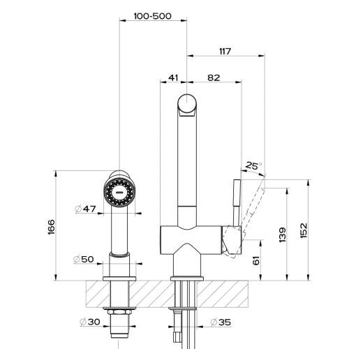 Gessi OXYGEN 16556 Monobloc Kitchen Mixer Tap with Rinse