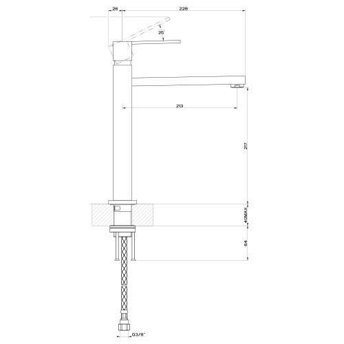 Gessi RETTANGOLO 16721Monobloc Kitchen Tower Tap