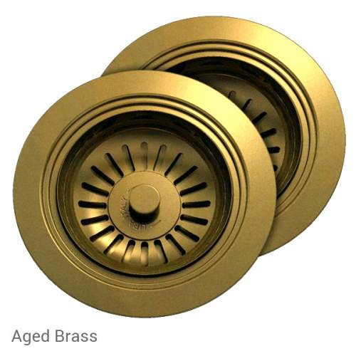 Perrin & Rowe 6475AB Waste & Overflow Kit for 2 Bowl Sinksin Aged Brass