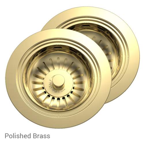 Perrin & Rowe 6475BR Waste & Overflow Kit for 2 Bowl Sinksin Polished Brass