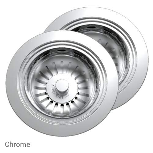 Perrin & Rowe 6475CP Waste & Overflow Kit for 2 Bowl Sinks in Chrome