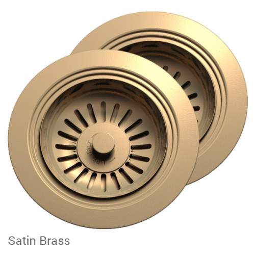 Perrin & Rowe 6475SB Waste & Overflow Kit for 2 Bowl Sinks in Satin Brass