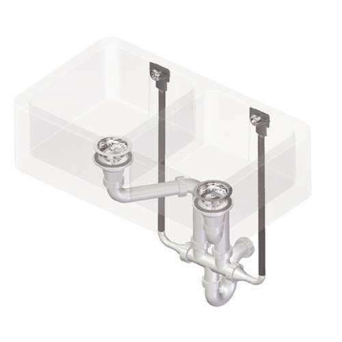 Perrin & Rowe 6475 Waste & Overflow Kit for Double Bowl Sinks
