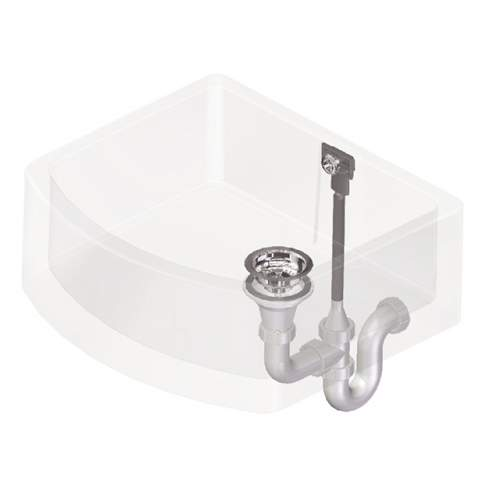 Perrin & Rowe 6400 Waste & Overflow Kit for Single Bowl Sinks