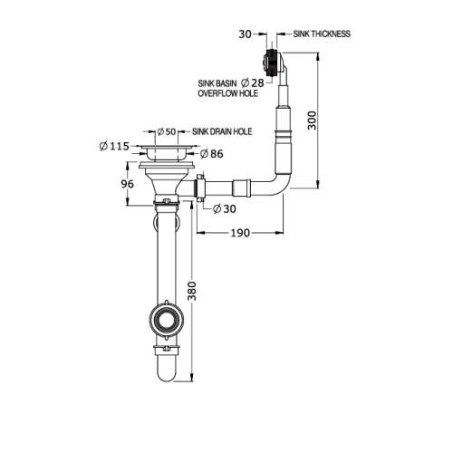 Perrin & Rowe 6400 Waste & Overflow Kit for Single Bowl Sinks