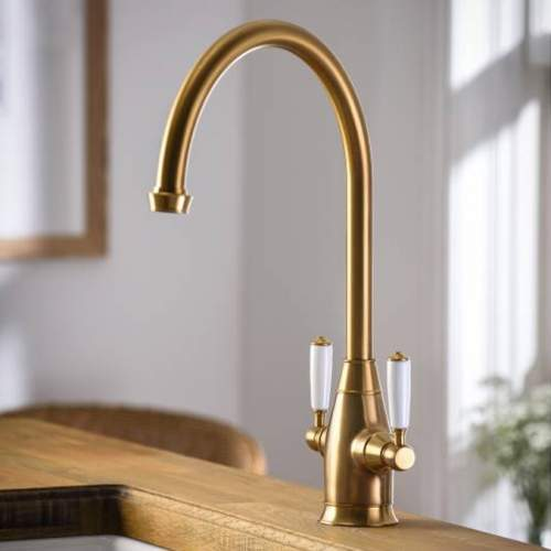Abode ASTBURY Twin Lever Mixer Kitchen Tap in Forged Brass