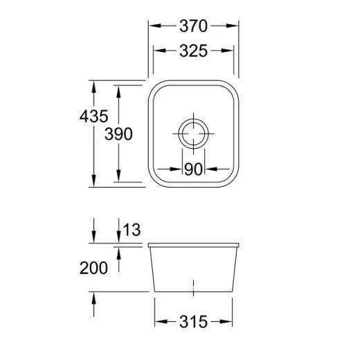 Villeroy & Boch CISTERNA 45 Undermount Sink