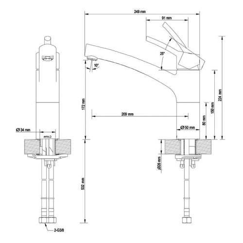 Teka TTM 107C Single Lever Arch Chrome Kitchen Tap