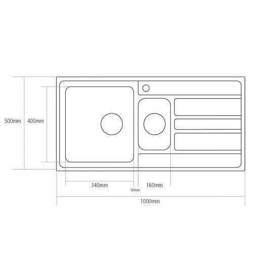 Caple VERTICE 150 Inset Stainless Steel Kitchen Sink specifications