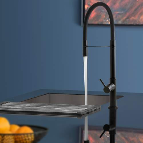 Caple Preto Single Lever Black Flexible Hose Kitchen Tap