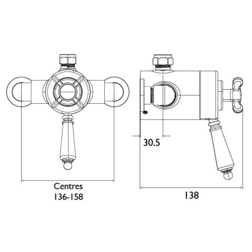 Bristan Thermostatic Exposed Dual Control Shower Valve