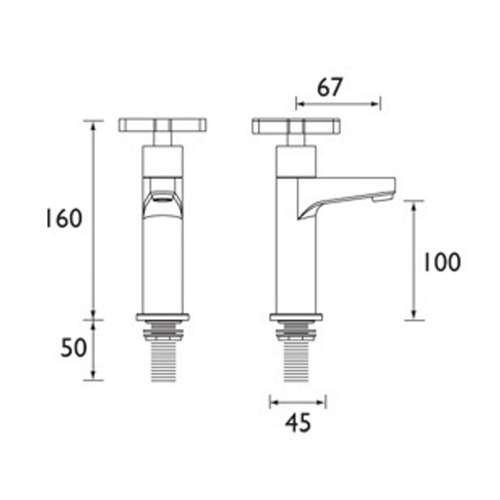 Bristan Design Utility X-Head High Neck Pillar Taps - DUXHNKC