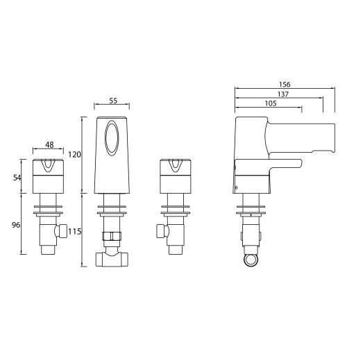 Bristan Flute Three Hole Basin Mixer - FLT 3HBAS C