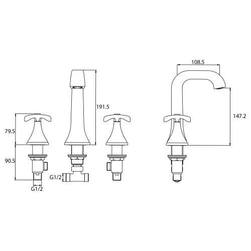Bristan Glorious Three Hole Basin Mixer - GLR 3HBAS C