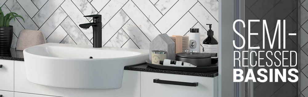 Semi-Recessed bathroom basins available from sinks-taps