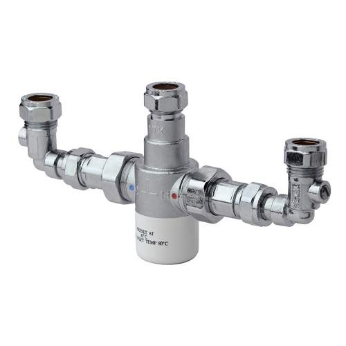 Bristan 15mm Thermostatic Mixing Valve with Isolation Elbows - MT503CPISOELB