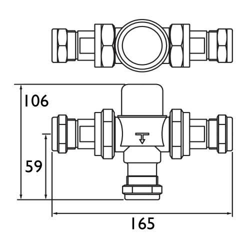 Bristan 22mm TMV3 Thermostatic Mixing Valve - MT753CP
