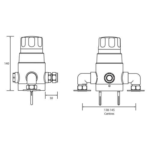 Bristan 15mm Thermostatic Exposed Mixing Valve no shutoff - TS1503ECP2000MK