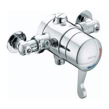 Bristan OPAC Thermostatic Exposed Shower Valve with Chrome Lever and Isolation Elbows - OP TS1503 ISOL C