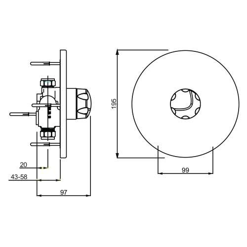 Bristan OPAC Thermostatic Concealed Mini Valve with Chrome Handwheel - MINI2 TS1203 CH C
