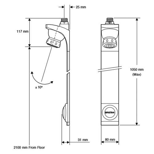 Bristan Push Button Timed Flow Shower Panel - TFP4001