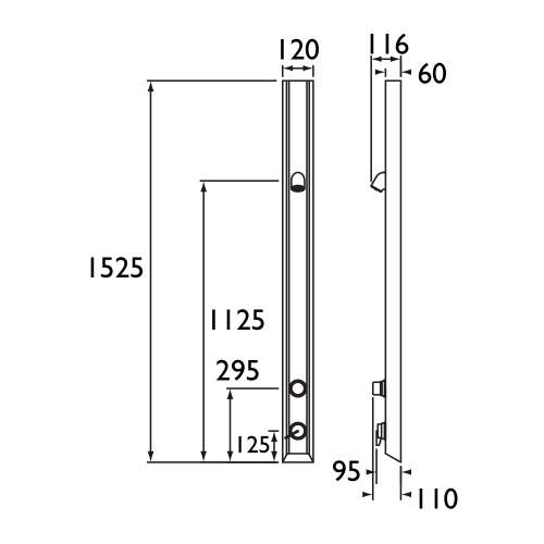 Bristan Timed Flow Shower Panel with Vandal Resistant Head - TFP3001