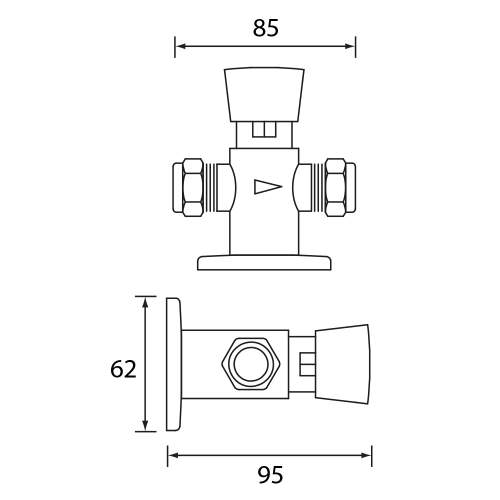 Bristan Exposed Timed Flow Control Shower Valve - TUF100ECP