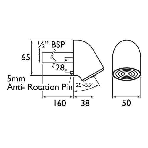 Bristan Vandal Resistant Adjustable Fast Fit Duct Shower Head - VR3000OFF DUCT