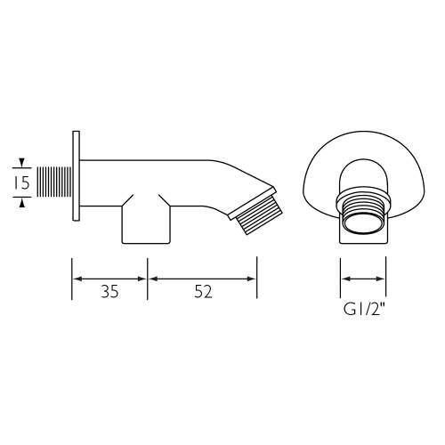 Bristan 87mm Exposed Shower Arm for Rigid Riser - 9042C