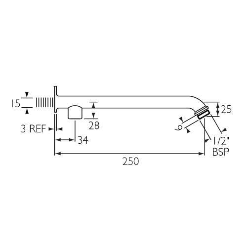 Bristan 250mm Exposed Shower Arm for Rigid Riser - SA260-C