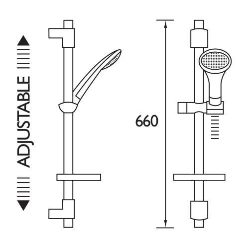 Bristan Economy Single Function Slide Bar Shower Kit - EVKIT-EFBC