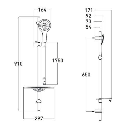 Bristan Single Function Extended Slide Bar Shower Kit - EV KIT-EEFB C