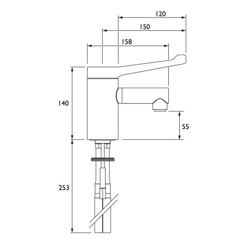 Bristan TMV3 Mono Basin Mixer with Long Lever Handle (no waste) - SOLO2-T3LL