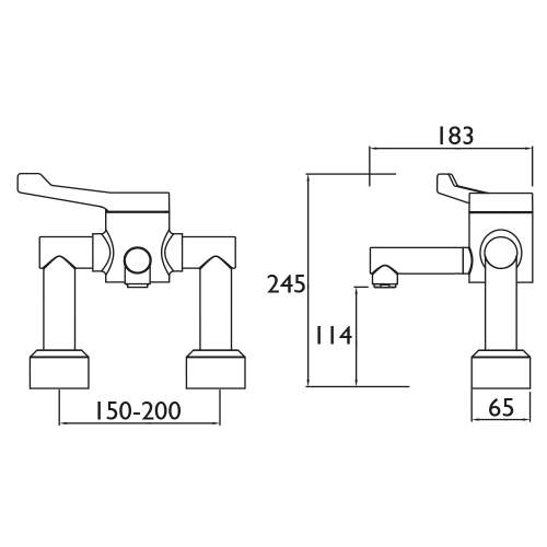tan Single Control Deck Mounted Hospital Basin Mixer - H64DMT2