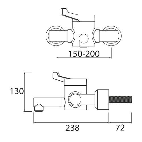 Bristan Single Control Wall Mounted Hospital Basin Mixer - H64WMT2