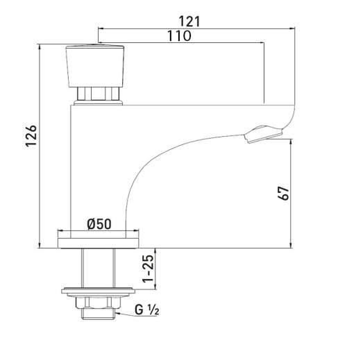 Bristan Single Pillar Basin Soft Touch Timed Flow Tap with Flow Regulator - Z2 DUS 1/2 C
