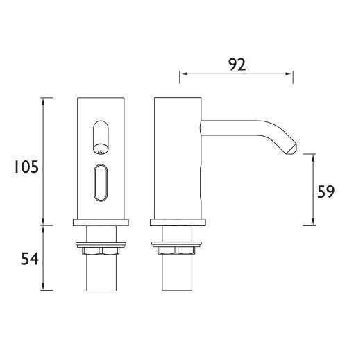 Bristan Electronic Control Infrared Automatic Soap Dispenser Spout - IRSD1-CP