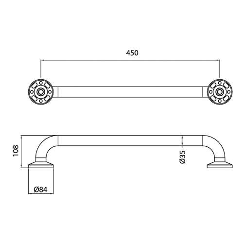 Bristan DocM Short Grab Rail 450mm GRAB 450