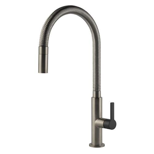 Gessi Mesh Single Lever Mixer Tap with Woven Metal Flexible Spout