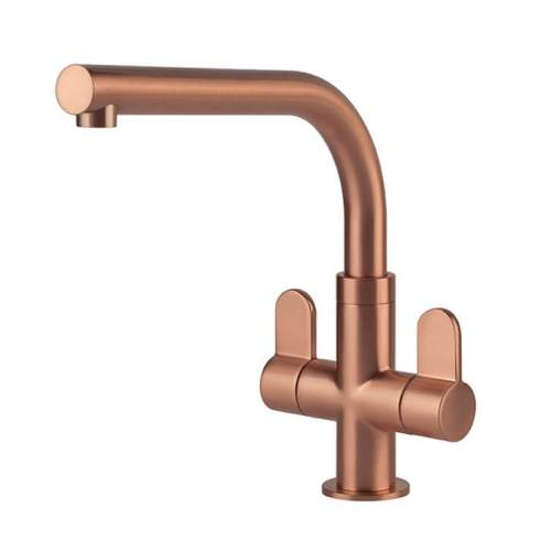Clearwater Miram Brushed Copper Twin Lever Monobloc Kitchen Tap