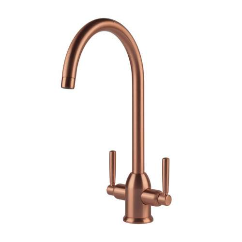 Clearwater Alzira Brushed Copper Twin Lever Monobloc Kitchen Tap