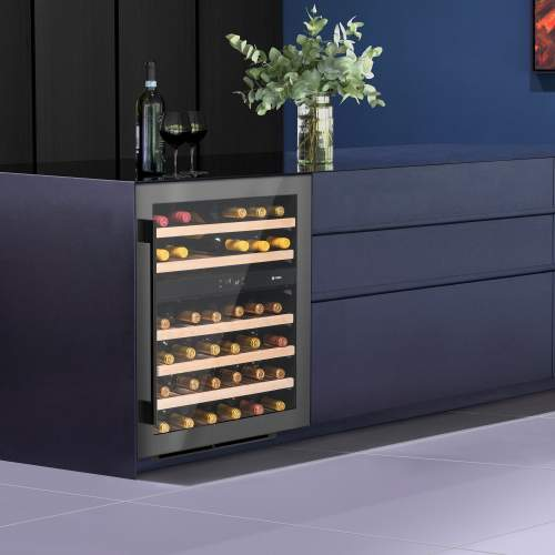 Caple WI6133GM Sense Undercounter Dual Zone Gunmetal Wine Cabinet